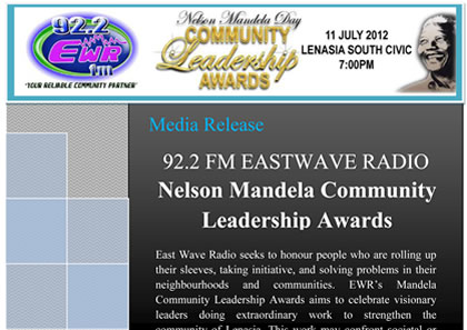 EASTWAVE RADIO NELSON MANDELA DAY COMMUNITY LEADERSHIP AWARDS