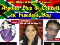 DAN BHIKA & NSCEP PRESENTS – DIRECT FROM INDIA ASMINA LIVE IN CONCERT ON FREEDOM DAY – 27 APRIL 2013 AT GANDHI HALL