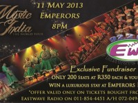 EWR Fundraiser tickets available for Mystic India Show at Emperors Palace