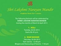 SHRI LAKSHMI NARAYAN MANDIR FORTHCOMING RELIGIOUS EVENTS