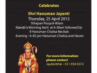 Shri Hanuman Jayanti Celebrations at Shri Lakshmi Narayan Mandir on 25 April
