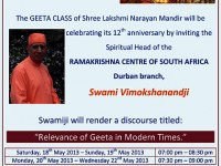 GEETHA DISCOURSE AT SHREE LAKSHMI NARAYAN MANDIR KINGFISHER STREET LENASIA