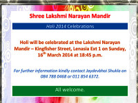 Holi Celebrations at the Shree Lakshmi Narayan Mandir on Sunday 16 March