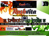 Kashvita Music & Dance Academy presents A Tribute to India 6 at the Gandhi Hall on 16 August 2014
