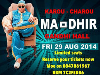 Karou Charou presents Ma-Dhir at the Gandhi Hall Friday 29 August 2014 at 7.00pm