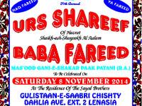 Urs Shareef of Baba Fareed Mas'ood Gani-e-Shakar Paak Patani to be celebrated at Sayed Chishty residence on Saturday 8 November