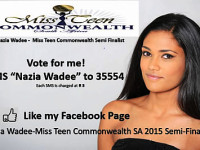 Local beauty Nazia Wadee in the semi finals in Miss Teen Commonwealth SA 2015