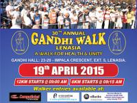 30th Annual Gandhi Walk takes place 19 April 2015