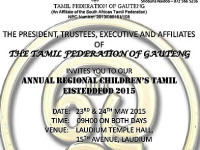 The Tamil Federation of Gauteng presents the annual regional Children's Tamil Eisteddfod 2015