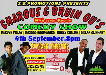 SB Promotions present Charous & Bruin Ou's on 4 September