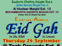 Eid-ul-Adha Eidgah to be held on Thursday 24 September at the Tech Grounds in Ext 6 Lenasia