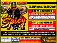 Karou Charou's Hot & Spicy Family Show – Lenzinfo gives away 5 sets of double tickets for Lenasia show Friday 20 November