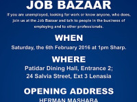 An invitation to all Lenasia and Surrounding Areas' residents to attend a DA Jobs Bazaar on Saturday 6 February in Lenasia.