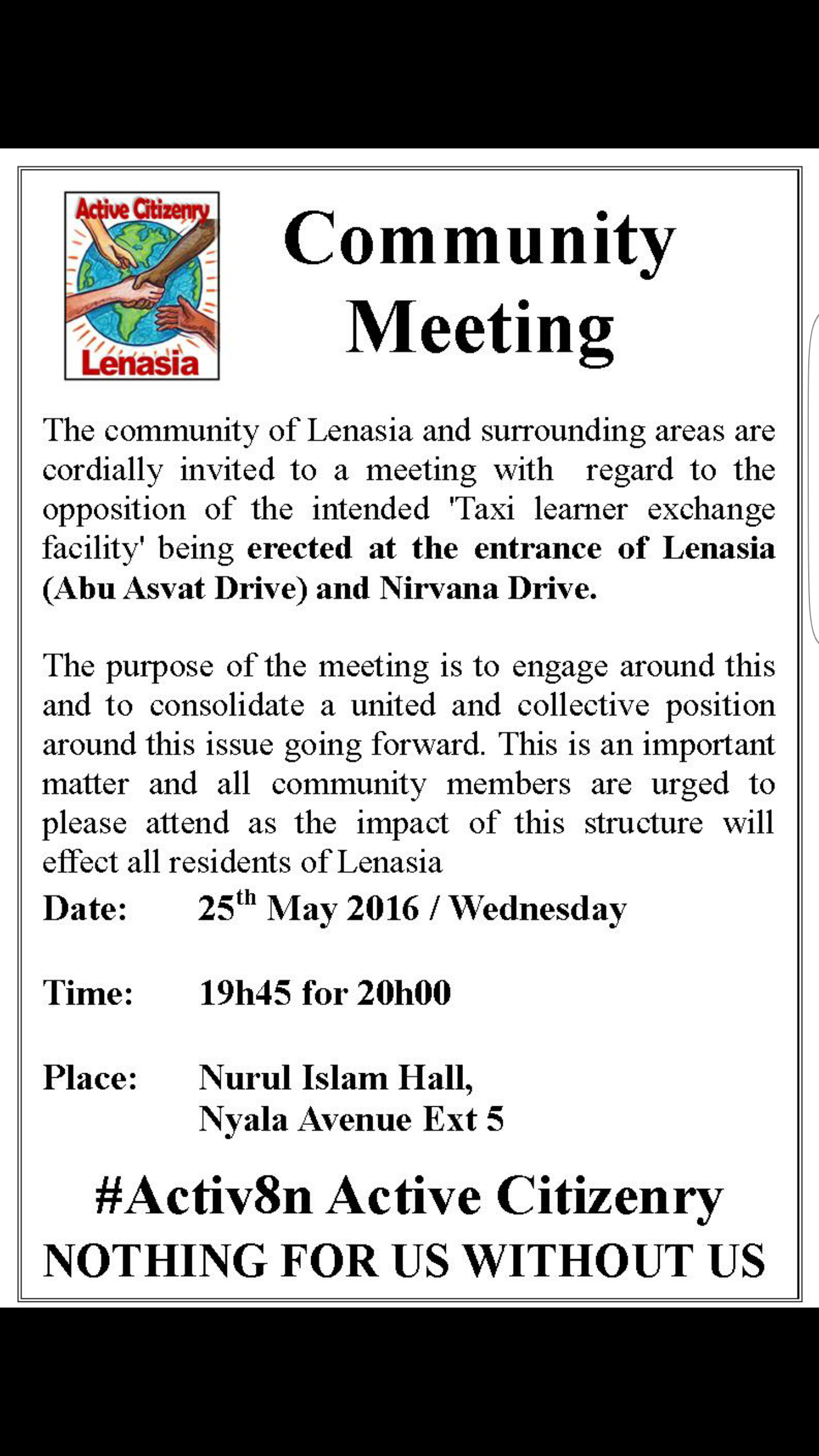 #Lenasia community meeting 25 May Nur-ul Islam Hall 19:45 for 20:00 re Scholar Taxi Rank