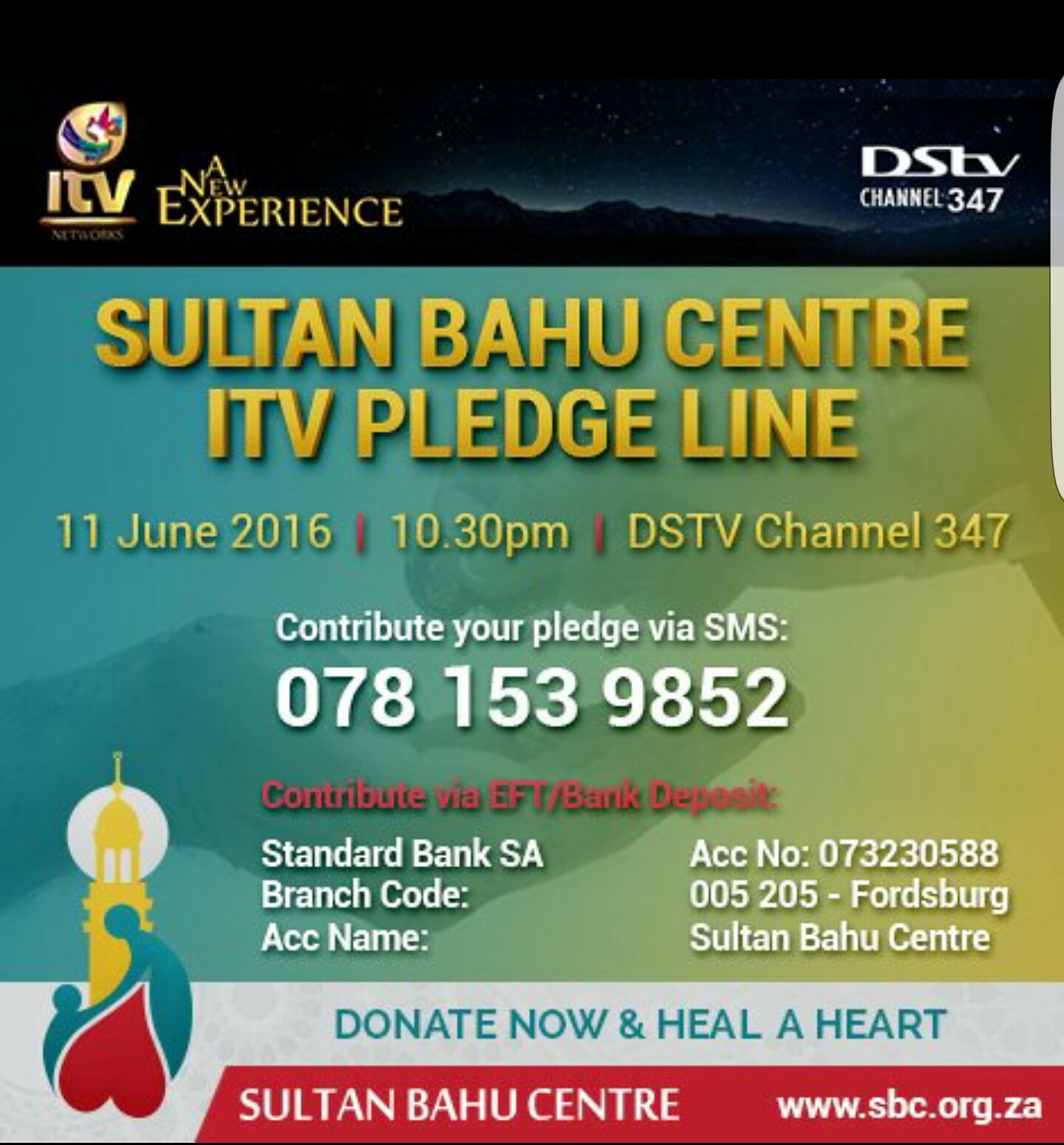 Support Sultaan Bahu via @itv_sa to raise funds for their cataract&dialysis projects